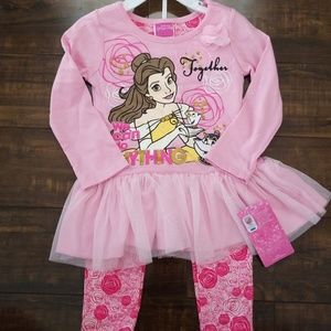 Disney Belle Long Sleeve top and pants Outfit NEW